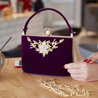 2017 Gold Kristall Blumen Samt Kupplungen Tasche Partei Geldbörse Frauen Umhängetasche Diamant Abendtaschen Ballot Lock Handtasche Handtasche