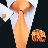 Livraison rapide Cravate Set travail orange poche Boutons de Manchette Carrés tissé affaires solide réunion officielle cravate Ensemble cravate des hommes de mode N-0356