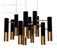 Delightfull ike ljuskrona modern design hänge lampa upphängning ljus matsal boende rum belysning restaurang svart och guld färg