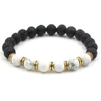 Fashion Natural Black Lava Stein Chakra Armband Aromatherapie Ätherisches Öl Diffusor Armband Für Frauen schmuck