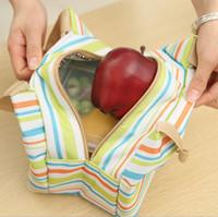 Hotsale Canvas Listrado Piquenique Almoço Bebida Isolamento Térmico Cooler Sacola Portátil Carry Case Lunch Box Bag