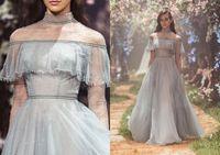 Paolo Sebastian Prom Dresses con collo alto Sweep Train Fairy Tulle Abiti da sera blu con maniche lunghe Sash Vestito formale Abiti da festa