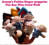 Masallar parmak kuklalar el kuklaları Yumuşak bez peluş parmak Kukla Ağlayan Çocuk Kurt 10 adet / takım