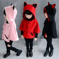 Retail Girls winter coat girls winter poncho clothing 3d ear...
