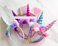 5 colors choose New Baby Party Headbands Unicorn Gauze Flowe...