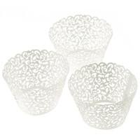 الجملة-Kimisohand 100 تخريمية القليل كرمة الدانتيل الليزر قطع كب كيك غلاف بطانة كأس الخبز