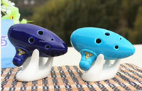 Blue 6 Holes Ocarina Musical Instrument Ceramic Alto C Ocari...