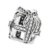 Сертифицированный 100% стерлингового серебра 925 бисера подлинные ювелирные изделия Fit Pandora Шарм браслеты ажурные подарок серебряный шарм с Clear CZ