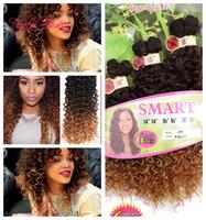 Cabelo sintético EXTENSÕES SMART MELHOR QUALIDADE cor ombre WEFT 6 PÇS / PACOTES Jerry onda crochet extensões de cabelo crochê tranças cabelo tece