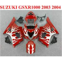 Plastic Carrosserie Set voor Suzuki GSXR 1000 K3 K4 2003 2004 Witte vlammen in Red Fairing Kit GSX-R1000 03 04 Valerijen Set BP24