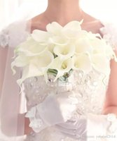 New White Colour Calla Lily Artificial Flowers Bouquet da sposa in lattice Real Touch Calla Lily Bouquet da sposa