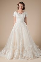 A- Line Lace Tulle Vintage Modest Wedding Dresses With Short ...
