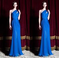 Zuhair Murad Dresses 2016 Royal Blue Платья для особых случаев Одно плечо плиссированные оболочки Длинные вечерние платья Формальные вечерние платья BO9790