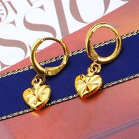 New Design 24K Gold Plated Hearts Earrings Hoop Gift For Wom...