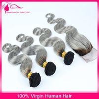 9A # 1b / Gri Saç Demetleri Ile Dantel Kapatma 2 Ton Gümüş Gri Vücut Dalga Ombre Saç Dantel Kapatma Ile Ücretsiz / Orta / Üç Bölüm