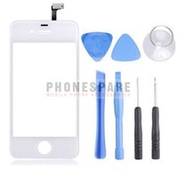 Touch Screen Digitizer per iPhone 4 in vetro frontale touch screen per iPhone 4 4g 4s nero bianco con strumento aperto