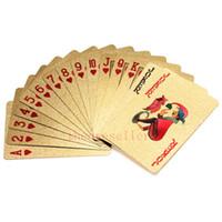 Envío gratis 100 sets / lote Lámina de oro plastificado naipes Póquer de plástico Dólar estadounidense / Estilo euro y estilo general Con certificado