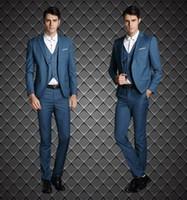 2015 الموضة رشيقة تناسب العريس Tuxedos Black Blue Custom Made Groomsmen Best Man Wedding Suits Prom Tuxedos (سترة + سروال + سترة + ربطة عنق + منديل))