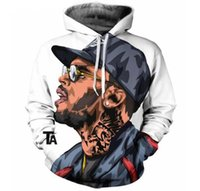 2017 Automne Hiver nouveau Mode 3D Hoodies Chanteur Chris Brown impression casual Sweat À Capuche Drôle Sweat Drop shipping XK097