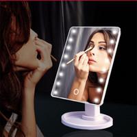 360 درجة دوران ماكياج مرآة قابل للتعديل 16/22 المصابيح مضاءة LED تعمل باللمس المحمولة مرايا مستحضرات التجميل مضيئة