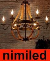 Nimi567 Yaratıcı Kişilik Vintage Restoran Cafe Retro Demir Çubuğu Loft Halat Avize Aydınlatma Sarkıt Droplight Işıkları