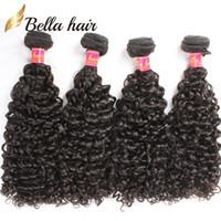 Bella Haar Brasilianische Haarbündel Gelockte jungfräuliches menschliches Haar Schussverlängerungen Gelockte Gewebe 4 teile / los Bündel Großhandel in Großhandel