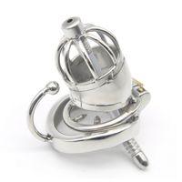 Cage # R58 de tuyau d'Ureter en métal de dispositif de verrouillage de chasteté en acier inoxydable mâle court