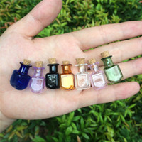 Wholesale- Mini Glass Color Bottles Rectangle Cute Bottles With Cork Little Bottles Gift tiny Jars Vials Mix 7Colors Free shipping