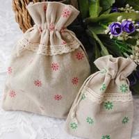 Sacos de presente de linho de renda 4 cor Daisy 9x13cm pacote de 50 maquiagem bolsa de embalagem de jóias