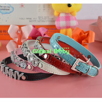 (100 Pieces Lot) Hot Sale Fashion Gator Pu Leather 10MM Personalized Cat Puppy Necklace Dog Pet Collar