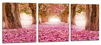 YIJIAHE Painting Modern Wall Art, Pink Landscape Print on Can...