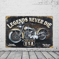 Retro Motorcycle Metal Painting Pub Wall Art Tavern Garage R...