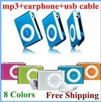Spor Mini Klip MP3 Çalar Mikro TF / SD Kart Yuvası Ile Kulaklık + Mini USB Şarj Kablosu Hiçbir Perakende Kutusu Desteği 1 - 8 GB DHL Ücretsiz Gemi