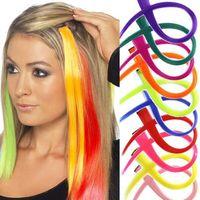 """20 """"Capelli sintetici Capelli lunghi Colore dei capelli Lungo Clip di un pezzo in estensioni dei capelli colorati per le donne Cheerleading Squads Fans Capelli Cosplay"""