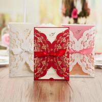 El más nuevo estilo de la boda tarjeta de invitación de boda matrimonio rosa rectángulo invitaciones con Bowknot decoraciones del partido por encargo