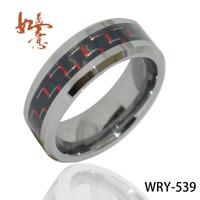 텅스텐 카바 이드 텅스텐 반지 남자와 여자의 약혼 반지에 대 한 흑인과 백인 탄소 섬유 웨딩 밴드 WRY-539