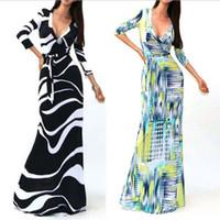 2015 Moda Yeni Maxi Elbiseler için Kadın Yaz Parti Akşam elbise Elbise V Yaka Seksi Çiçek Baskılı Elbiseler Kadınlar Casual elbiseler xl