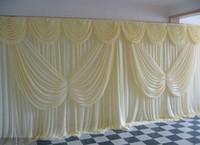 10FT 20FT * الحرير الثلج أبيض اللون مع الفراشة غنيمة زفاف الستارة ستارة خلفية بالطلب الألوان