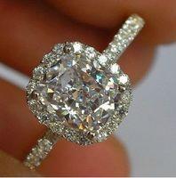 الفاخرة 3CT الحجم 5-10 المجوهرات 10K الذهب الأبيض معبأ توباز الأبيض المرأة خاتم الزواج هدية