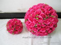 13 colors 30cm Wedding Decorations Silk Kissing Pomander ros...