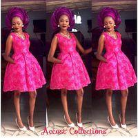 나이지리아 아소 Ebi 스타일 아랍어 볼 가운 이브닝 드레스 Apiqued 특종 벨라 Naija 이브닝 파티 드레스 핑크 들러리 드레스 포켓
