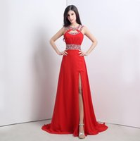 2015 em stock Red Prom Dresses A Linha Comprimento Pavimento Jewel Side splite Formal Evening Vestidos Tamanho 6 a 16 vestidos de festa Chiffon