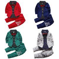 Kid Baby Garçon Vêtements Ensembles de la fête Formelle Chroming Markening Mariage Tuxedo Bow 2 Pièce Enfants Garçons Fashion Gentlemen Spring Automne Tenues 17112401