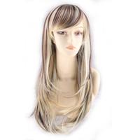 WoodFestival synthétique perruques femmes légèrement ondulées résistant à la chaleur perruque de haute qualité pas cher perruques lady long mélange couleur perruque blonde