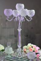 alta qualidade por atacado 5 cabeças sliver cristal candelabro centrais para o casamento / fornecimento de festa