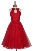2016 Robes De Demoiselle D'honneur À Court Rouge Keyhole Cou Robe Longueur De Genou Pageant Demoiselle D'honneur Robes 1905 Vintage Paillettes Robes