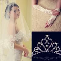 Meilleure vente 2014 3 pièces Dentelle Appliquée Voile Wedding Voile avec demi-gants Livraison gratuite