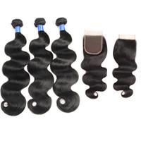8a cabelo malaio onda do corpo com 4x4 lace closure cabelo virgem malaio com fechamento extensões 3 bundles remy não transformados tecer cabelo humano