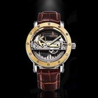 Gros-marque créative IK coloration bracelet en cuir robe imperméable montre mécanique transparente d'affaires décontractée creux hommes montre de sport