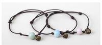 Nouvelles perles de pierre naturelle + Bells bracelet Turquoise Scrub Agate Stone Coloré 6MM Perles bracele Sœurs / amis bracelets Réglable Bijoux